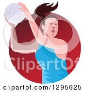 Clipart Of A Retro Female Volleyball Or Netball Player Passing In A Red Circle Royalty Free Vector Illustration