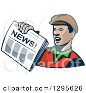 Clipart Of A Retro Cartoon Newspaper Boy Holding Out A Paper Royalty Free Vector Illustration