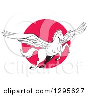Clipart Of A Cartoon White Flying Winged Pegasus Horse Over A Pink Circle Royalty Free Vector Illustration by patrimonio