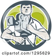 Clipart Of A Retro Male Cameraman In A Gray White And Green Circle Royalty Free Vector Illustration
