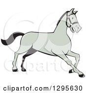 Clipart Of A Cartoon Trotting Gray Horse Royalty Free Vector Illustration