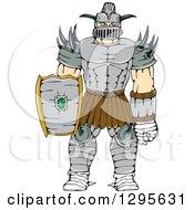 Clipart Of A Cartoon Knight Super Hero In Horned Armor Royalty Free Vector Illustration
