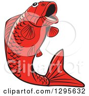 Clipart Of A Jumping Black And Red Koi Fish Royalty Free Vector Illustration