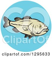 Clipart Of A Cartoon Largemouth Bass Fish In A Blue Circle Royalty Free Vector Illustration by patrimonio