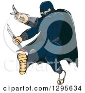 Clipart Of A Cartoon Masked Ninja Warrior Super Hero Kicking And Holding A Knife And Sword Royalty Free Vector Illustration