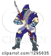 Clipart Of A Cartoon Masked Ninja Warrior Super Hero With A Spear Royalty Free Vector Illustration
