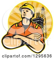 Clipart Of A Retro Male Off Shore Worker And Oil Platform In A Circle Of Orange Sunshine Royalty Free Vector Illustration