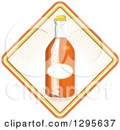 Clipart Of A Retro Glass Orange Soda Bottle In A Diamond Royalty Free Vector Illustration