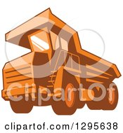 Clipart Of A Retro Orange Mining Haul Truck Royalty Free Vector Illustration