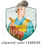 Clipart Of A Retro Low Poly Welder Holding A Torch And Emerging From A Shield Royalty Free Vector Illustration