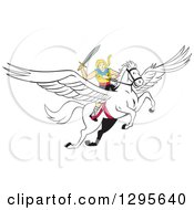 Clipart Of A Cartoon Blond Valkyrie Wielding A Sword And Flying On A Winged Pegasus Horse Royalty Free Vector Illustration