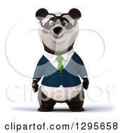 Clipart Of A 3d Bespectacled Business Panda Royalty Free Illustration