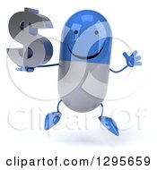 3d Happy Blue And White Pill Character Jumping And Holding A Dollar Currency Symbol