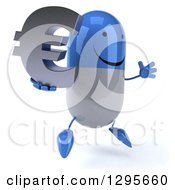 3d Happy Blue And White Pill Character Facing Right Jumping And Holding A Euro Currency Symbol