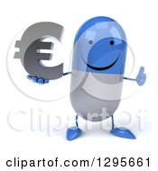 3d Happy Blue And White Pill Character Holding A Euro Currency Symbol And Thumb Up