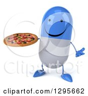 3d Happy Blue And White Pill Character Shrugging And Holding A Pizza