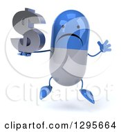 3d Unhappy Blue And White Pill Character Jumping And Holding A Dollar Currency Symbol