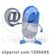 3d Happy Blue And White Pill Character Holding An Email Arobase At Symbol