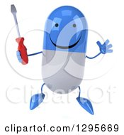 Clipart Of A 3d Happy Blue And White Pill Character Holding A Screwdriver And Jumping Royalty Free Illustration