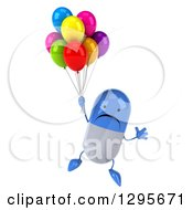 Clipart Of A 3d Unhappy Blue And White Pill Character Floating With Party Balloons Royalty Free Illustration