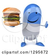3d Happy Blue And White Pill Character Holding A Thumb Up And A Double Cheeseburger