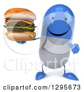 3d Happy Blue And White Pill Character Holding And Pointing To A Double Cheeseburger