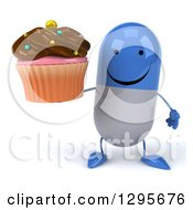 Clipart Of A 3d Happy Blue And White Pill Character Holding A Chocolate Frosted Cupcake Royalty Free Illustration