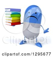 Clipart Of A 3d Unhappy Blue And White Pill Character Shrugging And Holding A Stack Of Books Royalty Free Illustration