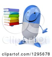 Clipart Of A 3d Happy Blue And White Pill Character Shrugging And Holding A Stack Of Books Royalty Free Illustration