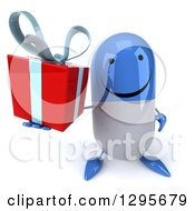 Clipart Of A 3d Happy Blue And White Pill Character Holding Up A Gift Royalty Free Illustration
