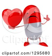 Clipart Of A 3d Unhappy Red And White Pill Character Holding Up A Finger And A Heart Royalty Free Illustration