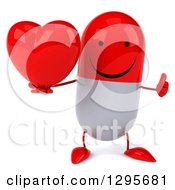 Clipart Of A 3d Happy Red And White Pill Character Holding A Thumb Up And A Heart Royalty Free Illustration