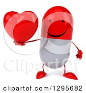Clipart Of A 3d Happy Red And White Pill Character Holding A Heart Royalty Free Illustration