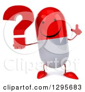 Clipart Of A 3d Happy Red And White Pill Character Holding Up A Finger And A Question Mark Royalty Free Illustration