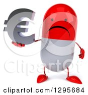 Clipart Of A 3d Unhappy Red And White Pill Character Holding A Euro Currency Symbol Royalty Free Illustration