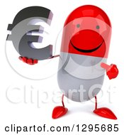 Clipart Of A 3d Happy Red And White Pill Character Holding And Pointing To A Euro Currency Symbol Royalty Free Illustration
