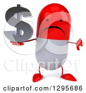 Clipart Of A 3d Unhappy Red And White Pill Character Holding A A Thumb Down And A Dollar Currency Symbol Royalty Free Illustration