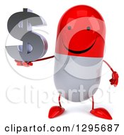 Clipart Of A 3d Happy Red And White Pill Character Holding A Dollar Currency Symbol Royalty Free Illustration