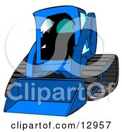 Blue Bobcat Skid Steer Loader With Blue Window Tint Clipart Graphic Illustration