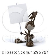 Clipart Of A 3d Dark Chocolate Easter Bunny Rabbit Holding And Pointing To A Blank Sign Royalty Free Illustration by Julos