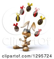Clipart Of A 3d Brown Bunny Rabbit Wearing Sunglasses Facing Slightly Left And Juggling Chocolate Easter Eggs Royalty Free Illustration by Julos