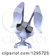 Clipart Of A 3d Blue Bunny Rabbit Wearing Sunglasses And Looking Down Over A Sign Royalty Free Illustration