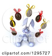 Clipart Of A 3d Blue Bunny Rabbit Looking Up And Juggling Chocolate Easter Eggs Royalty Free Illustration by Julos