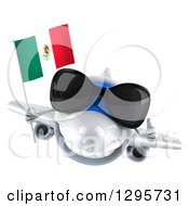 Clipart Of A 3d White Airplane Wearing Sunglasses Giving A Thumb Up And Flying With A Mexican Flag Royalty Free Illustration