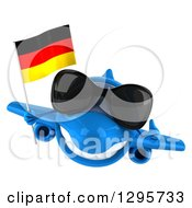 Clipart Of A 3d Happy Blue Airplane Wearing Sunglasses Giving A Thumb Up And Flying With A German Flag Royalty Free Illustration
