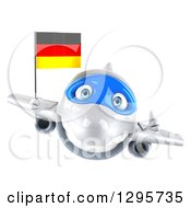 Clipart Of A 3d Happy White Airplane Giving A Thumb Up And Flying With A German Flag Royalty Free Illustration
