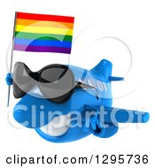 Clipart Of A 3d Happy Blue Airplane Wearing Sunglasses And Flying To The Left With A LGBT Rainbow Flag Royalty Free Illustration