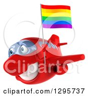 Clipart Of A 3d Happy Red Airplane Flying To The Left With A LGBT Rainbow Flag Royalty Free Illustration