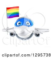 Clipart Of A 3d Happy White Airplane Flying With A LGBT Rainbow Flag Royalty Free Illustration