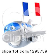 Clipart Of A 3d Happy White Airplane Flying To The Left With A French Flag Royalty Free Illustration